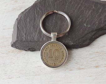 1961 Coin Keyring, Malaya & British Borneo 10 Cent Coin Keyring, 1961 Birthday or Anniversary, Coin Keychain, Number 10 Gift, UK, 662b