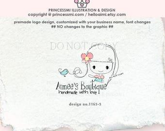 1165-5  girl logo, child business logo,  kids logo, boutique logo, girl business,watermark design, cute girl design.
