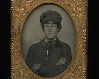 RESERVED Do Not Buy 1/9 Ambrotype Photo Handsome Young Man Crossed Arms Wearing Cap & Bow Tie