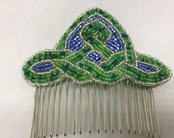 Green and Blue Celtic Knot Hair Comb