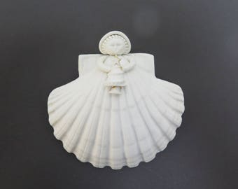 Margaret Furlong Bisque 1990 Shell Angel holding Christmas Tree - has old glue stain