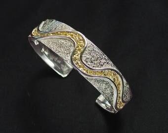 Sterling Silver & Natural Gold Nugget Bracelet - River of Gold
