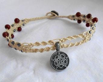 Natural Focus, modern macrame, jasper jewelry, red jasper jewelry, pentagram choker, pentacle choker, witch jewelry