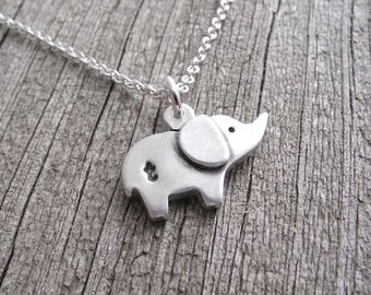 Personalized Tiny Elephant Necklace, Baby Elephant, Good Luck Elephant, Fine Silver, Sterling Silver Chain, Made To Order