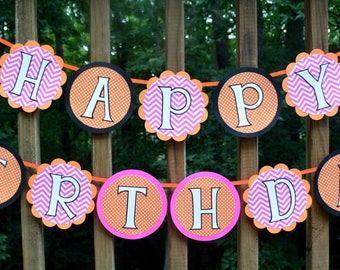 Little Pumpkin Birthday Banner Happy Birthday Banner Pink Orange Black 1st Birthday Banner Halloween Birthday Party Decoration READY TO SHIP