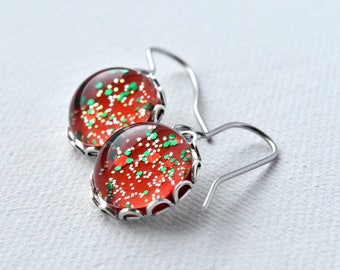 Red Earrings - Glitter Earrings - Christmas Earrings - Gift for Her - Hypoallergenic - Red and Green - Christmas Gift - Festive Earrings
