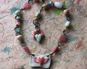 FLYING LOVE light hearted artisan ceramic bead necklace incandy colors