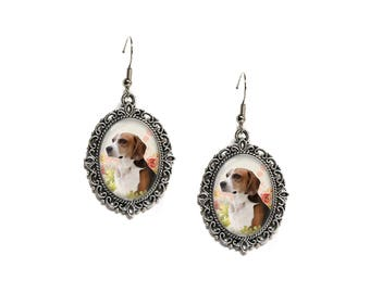 Floral Woodland Dog Silver Filigree 18x25 Glass Cameo Earrings