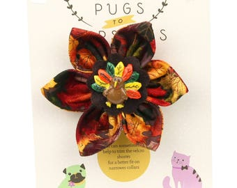 Autumn Dog Bow - Colorful Turkey on Autumn Leaves - Flower - Collar Blossom - Medium Size