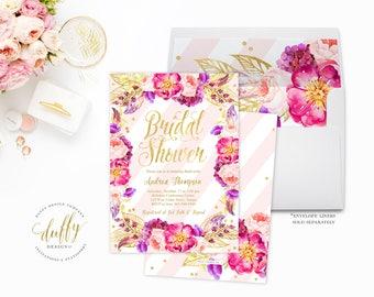 Bridal Shower Invitation, Bridal Shower Invite, Pink Gold Bridal Shower Invite, Floral Bridal Shower Invite, Watercolor Floral Bridal Shower