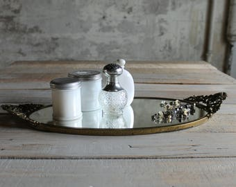 Vintage Oval Mirrored Vanity Tray / Display Tray