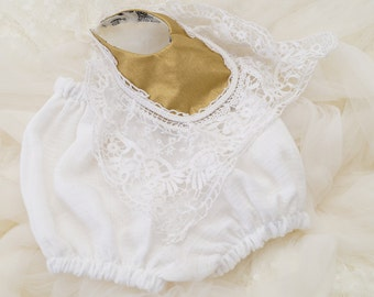 Baby bloomers, gold Baby bloomers,  lace bib, baby white bloomers for baby, diaper cover, baby toddler bloomers and lace bib, cotton shorts