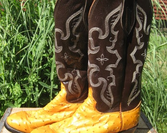 Olathe Ostrich Cowboy Boots Chocolate and Honey