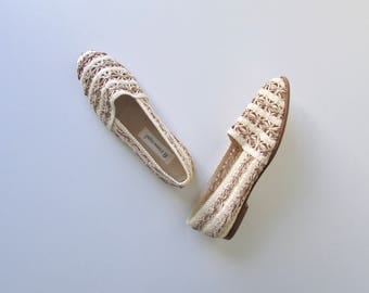 vintage woven slip on shoes