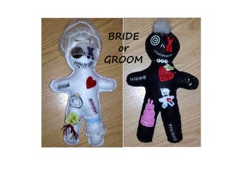 Bride Groom Bridal Wedding I Do whimsical Voodoo Doo Dolls TM Specialty Handmade Designs