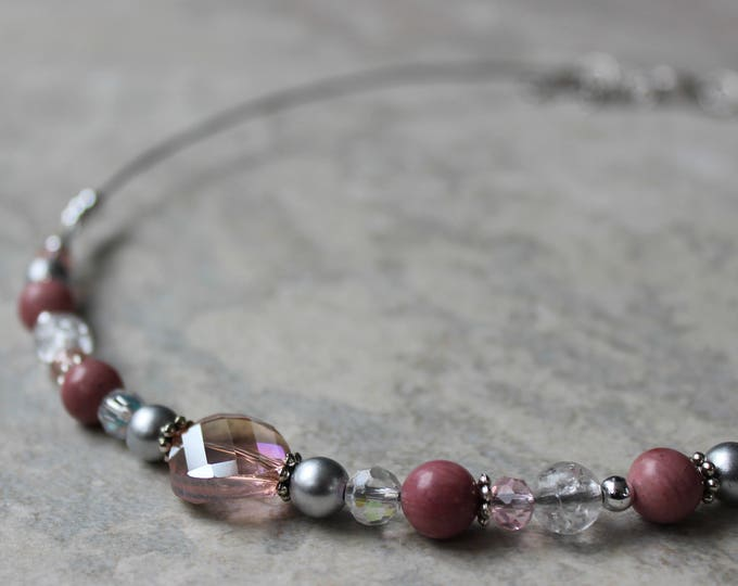 Beaded Necklaces, Handmade Necklaces for Women, Blush Pink, Gray, Silver, Beaded Necklace Gift for Her, Wire Necklaces