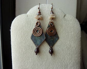 Deep Blue Patina with Antique Copper Spiral Garnet Feldesfer Chips Tagnipis Shell Heishi and Ruby Earrings, Rustic, Tribal, Bohemian, Dangle
