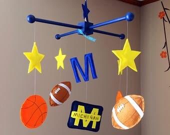 Custom Michigan Themed Baby Crib Mobile, Football Baby Nursery Mobile, Basketball Felt Mobile, Letter M and Stars Baby Mobile, Felt Mobile