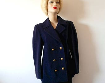 1980s Wool Pea Coat / vintage women's classic double breasted winter jacket