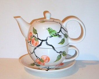 Persimmons & Green Bird Tea for One Tea Pot with Cup and Saucer Hand Painted 3 Piece Tea Set For One Gift for Her Sister Gift Wedding Gift