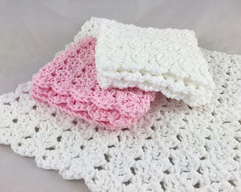 Cotton wash cloths, eco-friendly dish cloths, pink white