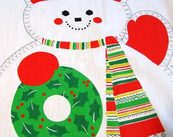 ViNTAGE SNOWMAN Cut and Sew Fabric Panel Fun Christmas Decoration Great for Beginners