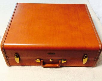 Clean 1950s Brown SAMSONITE Suitcase Leather Travel Makeup Cosmetic Luggage Carry On Storage Case