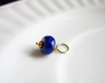 Dark Blue Lapis Charm - Natural Stone Jewelry - Lapis Lazuli Jewelry - Lapis Lazuli Pendant - Drop Necklace Charms - Just Dangle Charms