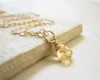 M - Genuine Citrine Jewelry - 14k Gold Charms - Natural Citrine Pendant - Wire Wrapped Gemstone Jewelry - Interchangeable Jewelry