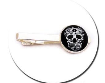Tie Clip - Mexican Sugar Skull Black and White