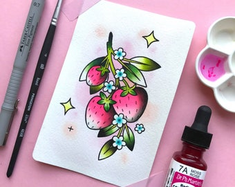 "4x6"" Strawberry Tattoo Flash ORIGINAL PAINTING by Michelle Kent"
