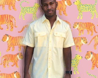 FREE SHIPPING!: Vintage 1970s Givenchy Yellow Button Down Shirt