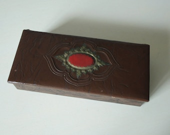 Art Deco Jewelery Box, Early Century, Embossed, Brown, Red, Gold