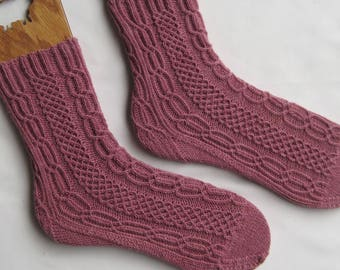 Knit Sock Pattern:  Bridgetown Alpine Cabled Sock Pattern