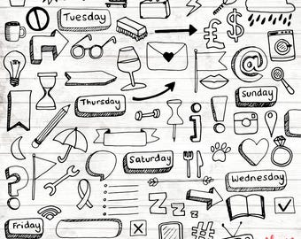 Planner Icons Clipart - Hand Drawn Planner Printables - Filofax Planner Clip Art - Digital Paper - Bubble Clip Art - Bubbles - ACGABW16