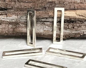 Open Rectangle Links in STERLING SILVER -  Bar Connectors - 20mm x 5mm - 10 Bar Links Oakhill Silver Supply L64a