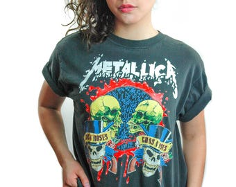 Vintage Metallica & Guns n Roses shirt 1992 Concert Tour Faith No More shirt Concert shirt Band Tee Shirt Metallica shirt guns n roses L