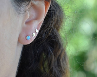 Opal Stud Earrings, 4 mm Opal Post Earrings in Sterling Silver, Handmade