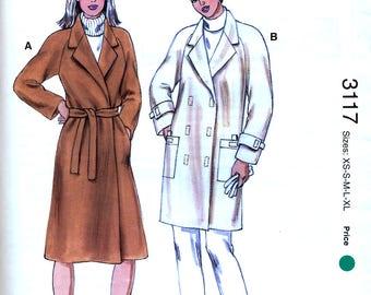 Kwik Sew 3117 Sewing Pattern for Misses' Coat - Uncut - Size XS-XL