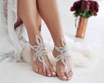 Barefoot Sandals, Rhinestone Anklet, Beach Wedding, Bridal Swarovski Crystal, Anklet, Foot Jewelry, Ankle Bracelet, Wedding Shoes /SEVIL/