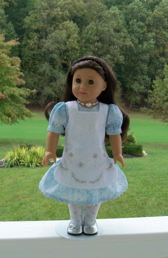 """18"""" Size/  Exquisite Metallic Embroidered Apron Dress Fits  American Girl or Other 18"""" Dolls"""