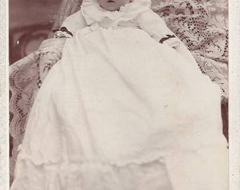 Vintage Perry Ryers Ames Iowa  Photographer Cabinet Card of Baby, 1890s