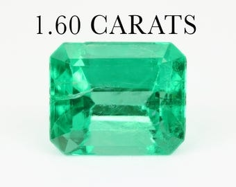Loose Colombian Emerald, 1.60Cts Loose Faceted Gemstone, Genuine Emerald Beryl, Rectangle Emerald, Emerald Jewelry Supplies, May Birthstone