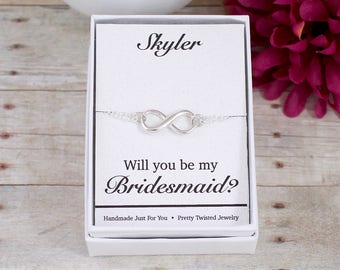 Will You be my Bridesmaid, Maid of Honor, Thank you for being my Bridesmaid, Maid of Honor, Sterling Silver Infinity Bracelet