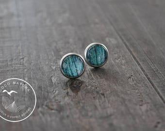 Clous d'oreilles - Bois de grange - Turquoise - Bijou bohémien - Coco Matcha