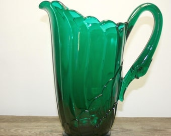 Swan Handled Pitcher, Imperial by Lenox, Green Water Pitcher