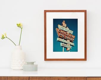 La Palma Chicken Pie Shop Neon Sign Print | Los Angeles Art | Retro Kitchen Decor | Diner Decor | Mid Century Wall Art | Roadside America