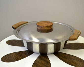 1950s Danish Stainless Steel Covered Dish with Wood Handles