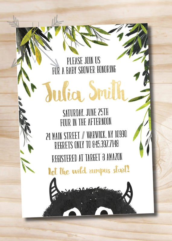 Where the wild things are baby shower invitation let the wild il570xn filmwisefo