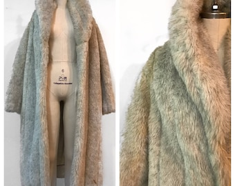 VINTAGE 80s G. Caseratti Original Sz L Grey Full Length Faux Fur Coat